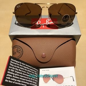 🔥RayBan Aviator Brown Lens Gold Frame Classic
